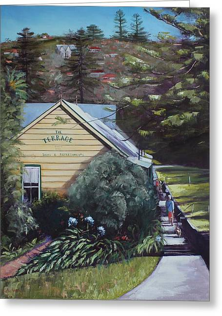 The Terrace Greeting Card by Kathy  Karas