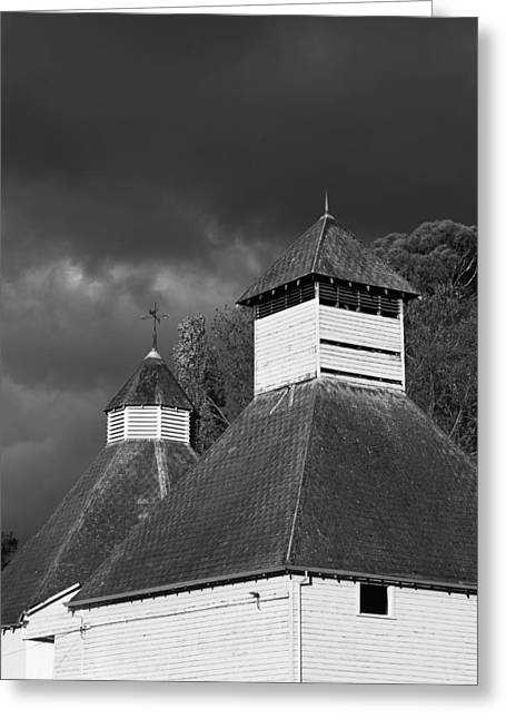 Greeting Card featuring the photograph The Text Kiln Monochrome by Odille Esmonde-Morgan