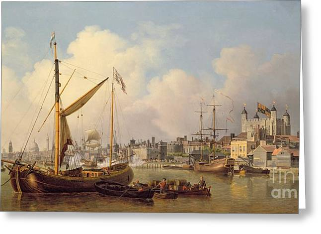 The Thames And The Tower Of London Supposedly On The King's Birthday Greeting Card by Samuel Scott