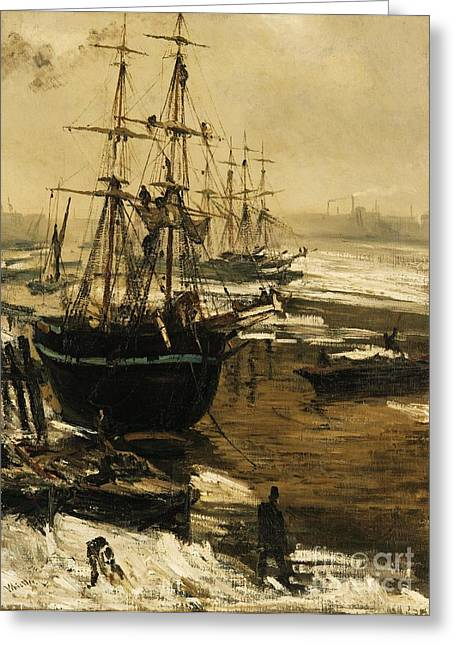 The Thames In Ice Greeting Card by Pg Reproductions
