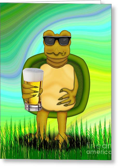 The Thirsty Turtle Greeting Card by Linda Seacord