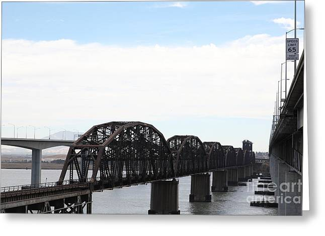 The Three Benicia-martinez Bridges - 5d18625 Greeting Card