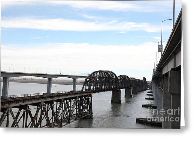 The Three Benicia-martinez Bridges In California - 5d18626 Greeting Card