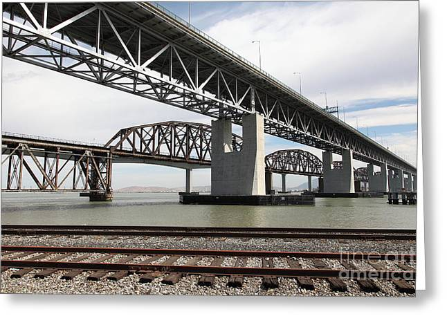 The Three Benicia-martinez Bridges In California - 5d18662 Greeting Card