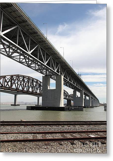The Three Benicia-martinez Bridges In California - 5d18665 Greeting Card