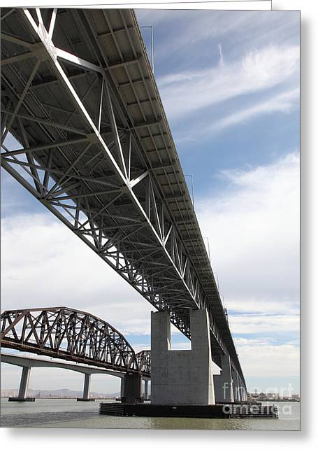 The Three Benicia-martinez Bridges In California - 5d18670 Greeting Card