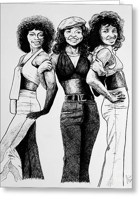 The Three Degrees Greeting Card by Jim Fitzpatrick