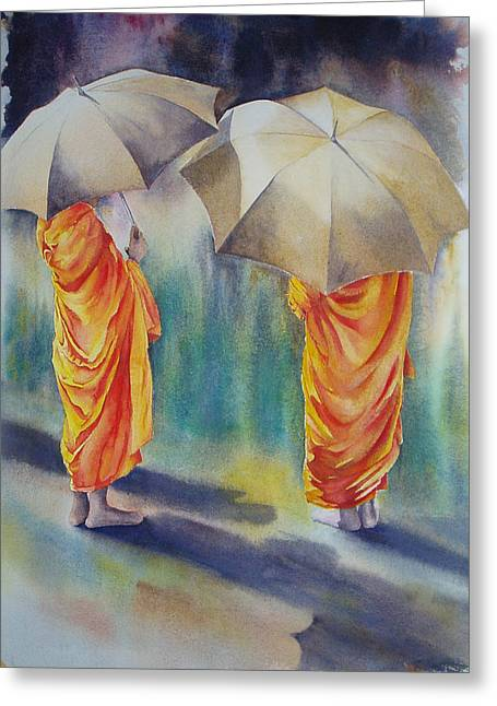 The Three Monks Greeting Card by Carol McLagan