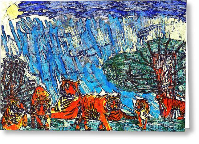 The Tigers Greeting Card by Odon Czintos
