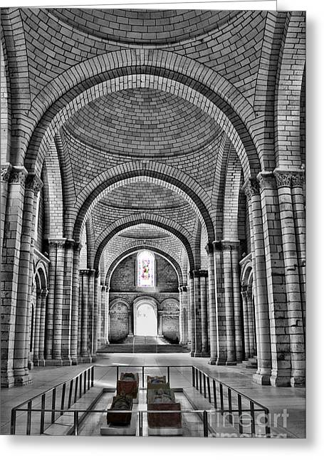 The Tombs At Fontevraud Abbey   France Greeting Card by Sheila Laurens