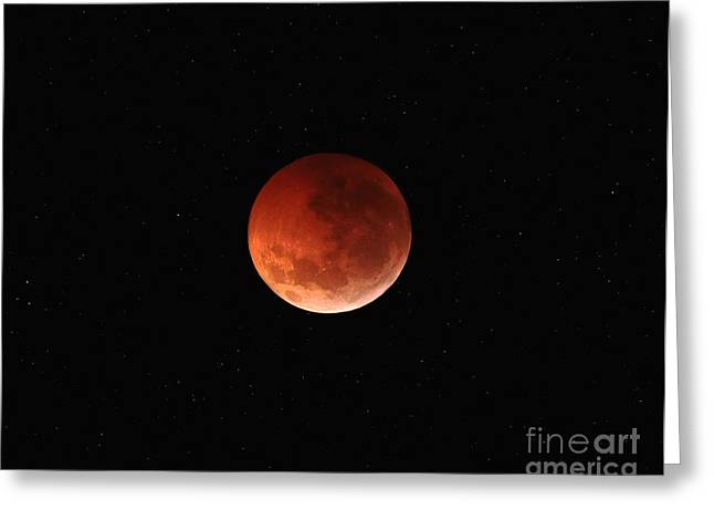 The Totality Phase Of A Lunar Eclipse Greeting Card by Luis Argerich