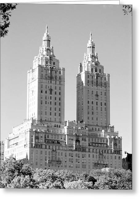 The Towers In Black And White Greeting Card by Rob Hans