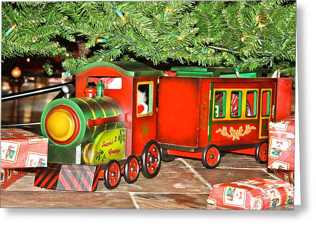 The Toy Train Greeting Card by Ann Murphy