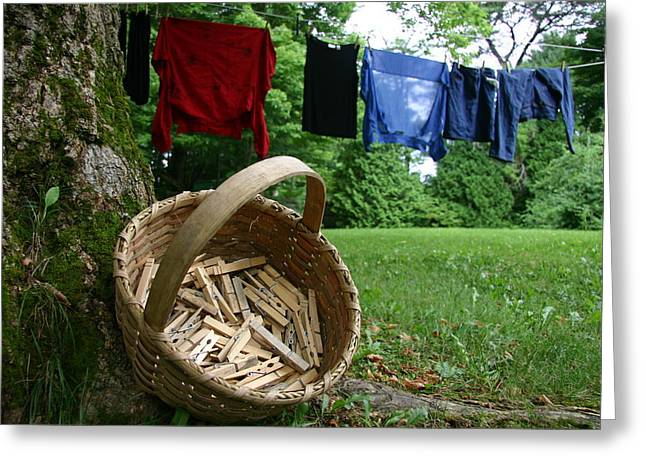 The Traditional Approach To Washday Greeting Card by Stephen St. John