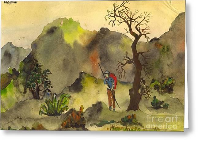 The Trekker Greeting Card by Padamvir Singh