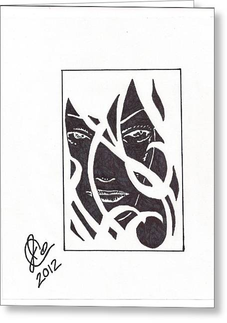 Greeting Card featuring the drawing The Unkown Woman by Jeremiah Colley