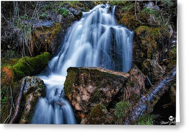 The Upper Butler Fork Falls Greeting Card by Mitch Johanson