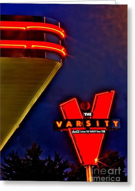 The Varsity Sign 2 Greeting Card by Corky Willis Atlanta Photography