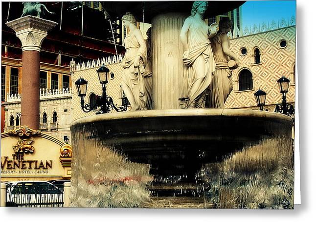 The Venetian Fountain In Las Vegas Greeting Card by Susanne Van Hulst
