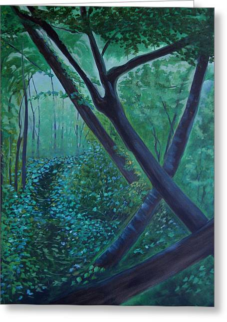 Greeting Card featuring the painting The Very Secret Garden by Tone Aanderaa