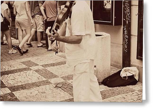 The Violin Player #man #praha #prague Greeting Card