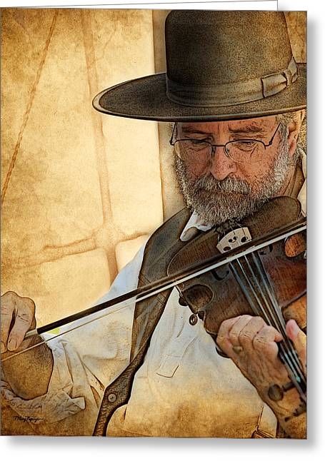 Greeting Card featuring the digital art The Violinist by Thanh Thuy Nguyen