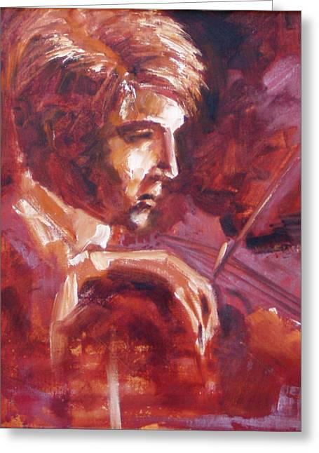 Greeting Card featuring the painting The Violinist by Walter Fahmy