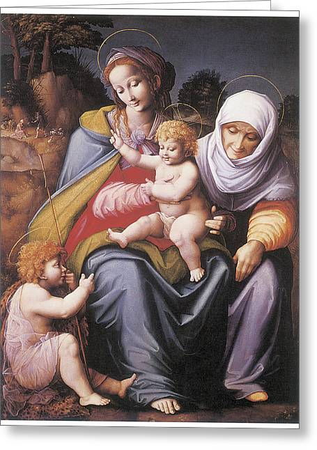 The Virgin And Child Greeting Card by Bachiacca
