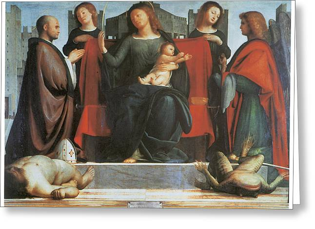 The Virgin And Child Enthroned Greeting Card by Bramantino