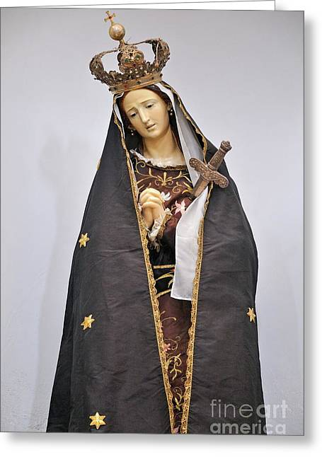 The Virgin Mary Statue In Church Greeting Card by Sami Sarkis