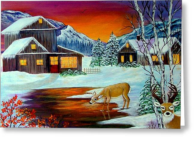 Greeting Card featuring the painting The Visitors by Fram Cama