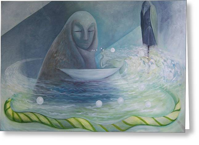 Greeting Card featuring the painting The Volve Rises Again by Tone Aanderaa