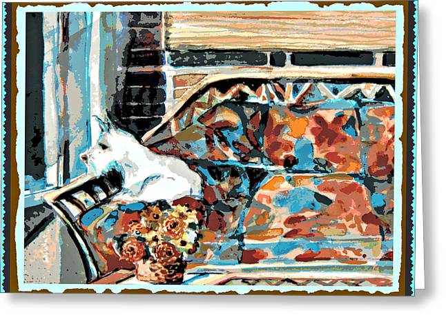 The Westie Watch Greeting Card by Mindy Newman