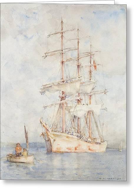 The White Ship Greeting Card by Henry Scott Tuke