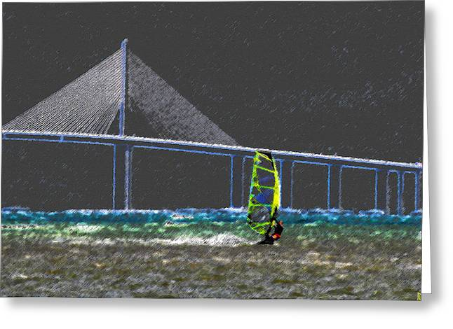 The Wind Surfer Greeting Card by David Lee Thompson