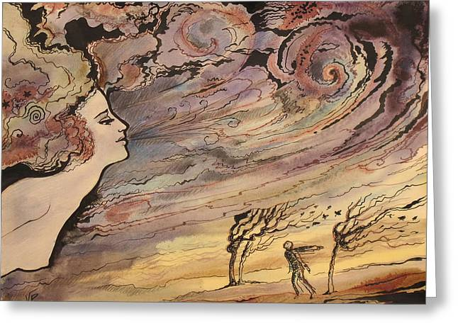 Greeting Card featuring the painting The Wind by Valentina Plishchina