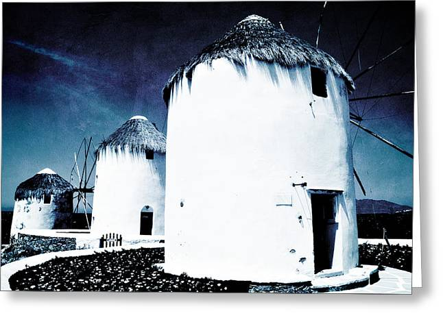 The Windmills Of Mykonos - Textured Blue Greeting Card
