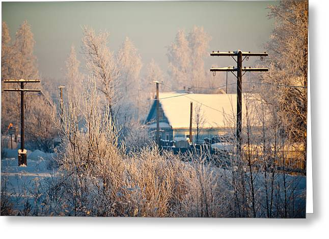 The Winter Country Greeting Card by Nikolay Krusser