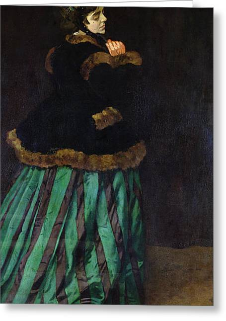 The Woman In The Green Dress Greeting Card by Claude Monet