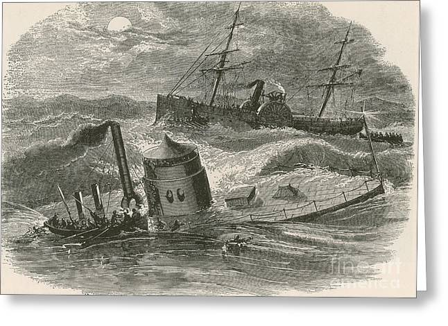 The Wreck Of The Ironclad Monitor, 1862 Greeting Card