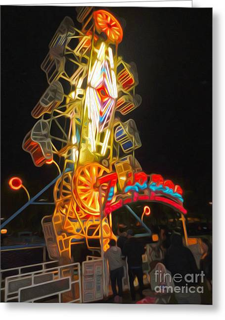 The Zipper - Carnival Ride Greeting Card by Gregory Dyer