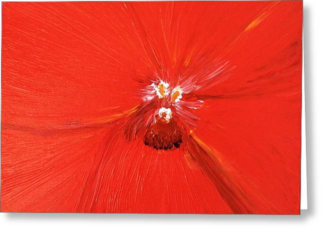 The Zoom Of Red Orchid Greeting Card by Pretchill Smith