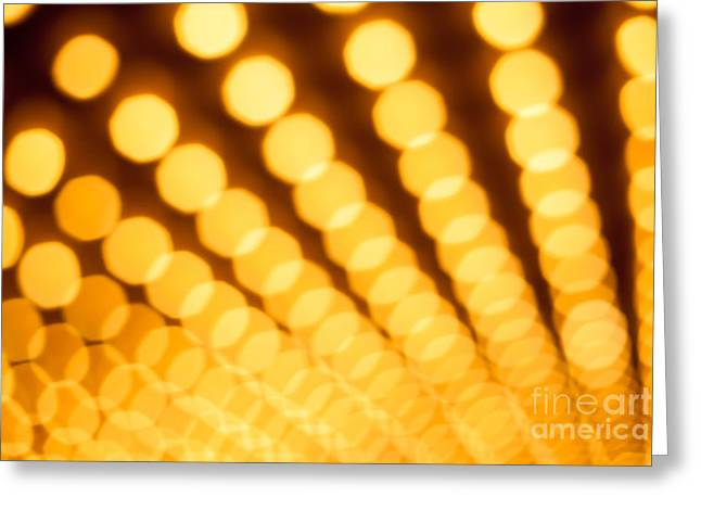 Theater Lights In Rows Defocused Greeting Card by Paul Velgos
