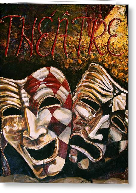 Theatre Masks Comedy And Tragedy Greeting Card by Martha Bennett