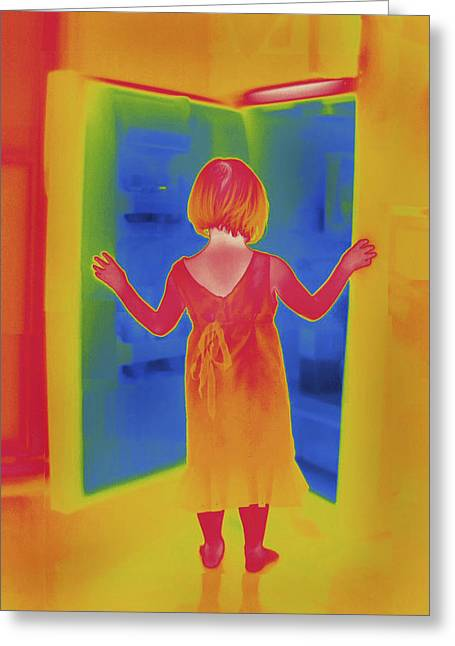 Thermal Image Of Girl Standing In Front Greeting Card