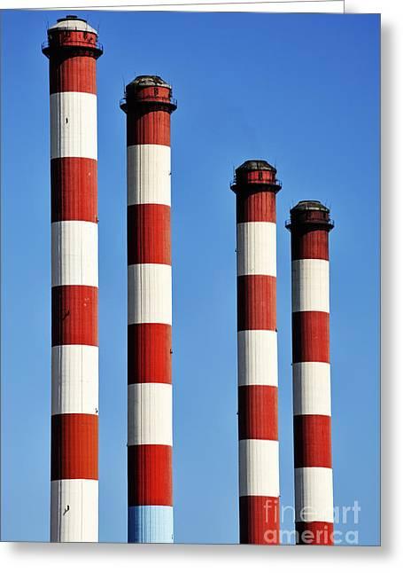 Thermal Powerplant Chimneys Greeting Card by Sami Sarkis