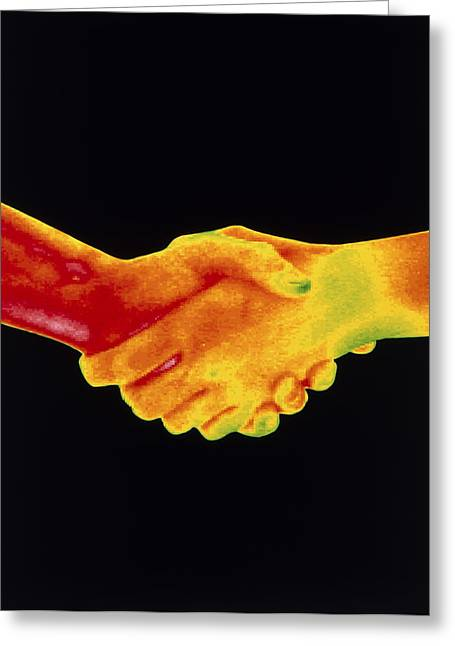 Thermogram Of A Handshake Greeting Card by Dr. Arthur Tucker