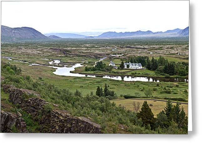 Thingvellir Valley Greeting Card by Greg Dimijian