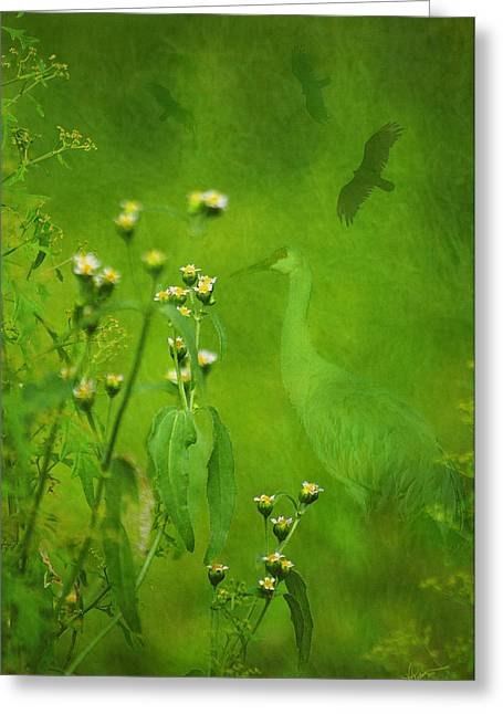 Think Green Greeting Card by Vicki Pelham