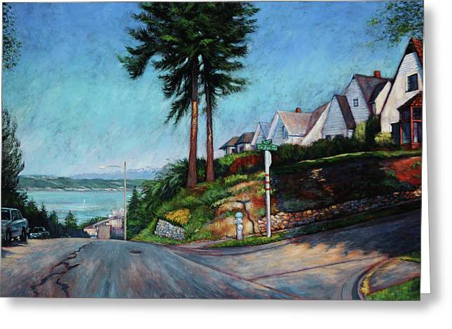 Greeting Card featuring the painting Thirtieth And Cedar  by Charles Munn